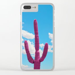 Pink Saguaro Against Blue Cloudy Sky Clear iPhone Case