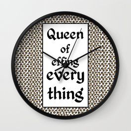 Tiger King Inspired - leopard print & Social Isolation Status Statement - Queen of effing everything  Wall Clock