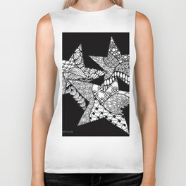 Midnight Zentangle Stars Black and White Illustration Biker Tank