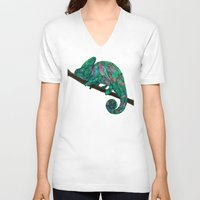chameleon V-neck T-shirts featuring Chameleon by Ben Geiger