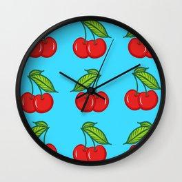 Cherry Cherry Baby Blue Wall Clock