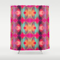 ikat Shower Curtains featuring Watercolor Ikat by Nina May Designs