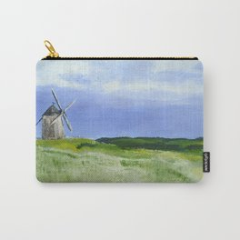 Windmill French Countryside Acrylics On Paper Carry-All Pouch