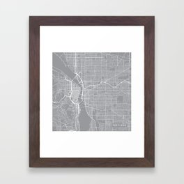 Portland Map, Oregon USA - Pewter Framed Art Print