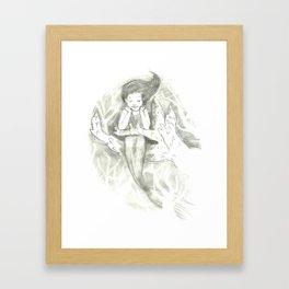 little mermaid on a branch of coral Framed Art Print