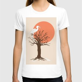 heron sitting in the tree during sunset T-shirt