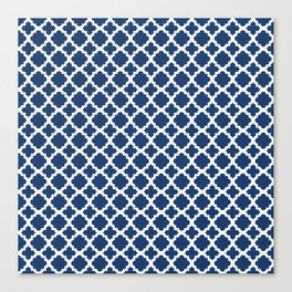 Lattice Navy on White Canvas Print