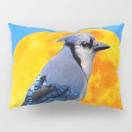 BLUE JAY & GOLDEN MOONSCAPE  ABSTRACT Pillow Sham