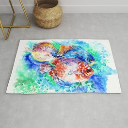 Underwater Scene Artwork, Discus Fish, Turquoise blue pink aquatic design Rug