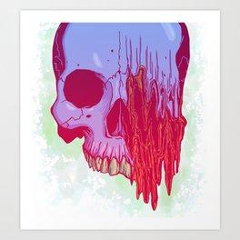 Distort candy color skull illustration Art Print