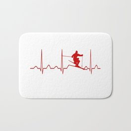 SKIING MAN HEARTBEAT Bath Mat