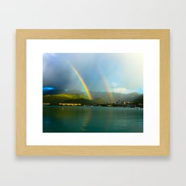 Hawaii Double Rainbow Framed Art Print