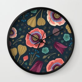 Bright Blooms Wall Clock
