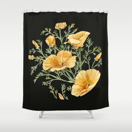 California Poppies on Charcoal Black Shower Curtain