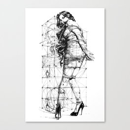 Lady and Geomertry Wall. Canvas Print