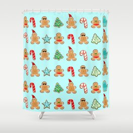 Naughty or Nice Gingerbread Shower Curtain