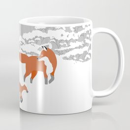 Foxes - Winter forest Coffee Mug