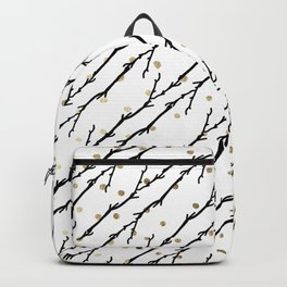 White faux gold polka dots black watercolor tree branch Backpack