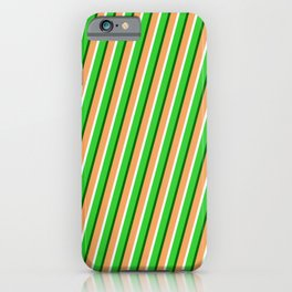 Brown, Mint Cream, Lime Green & Dark Green Colored Lined Pattern iPhone Case