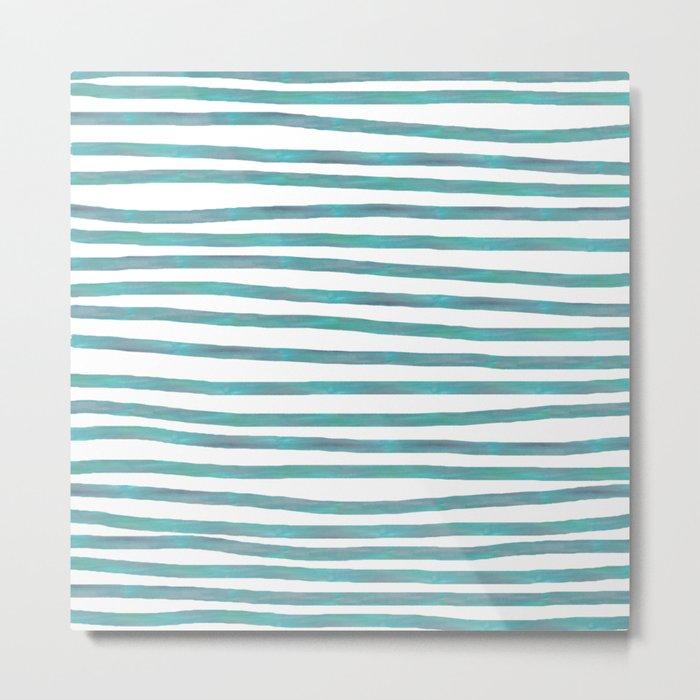 Ocean Green Hand-painted Stripes Metal Print