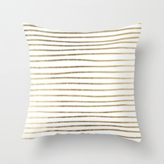 Elegant chic faux gold modern stripes pattern Throw Pillow