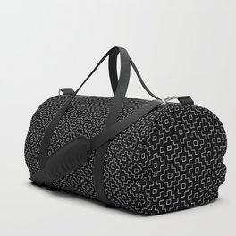 Persimmon Hitomezashi Sashiko - White on Black Duffle Bag