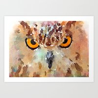 owl Art Prints featuring Owl by contemporary