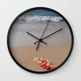Hawaiian beach with lei Wall Clock