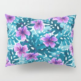 Tropical Hibiscus Pattern Purple Pillow Sham