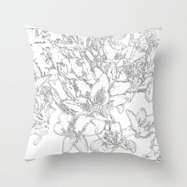 Large flowers pencil effect Throw Pillow