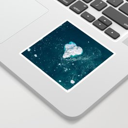 Heart of Winter - Aerial view of Icebergs in the arctic Ocean Sticker