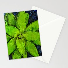 Green Agave and Dark Blue Pebbles Stationery Cards