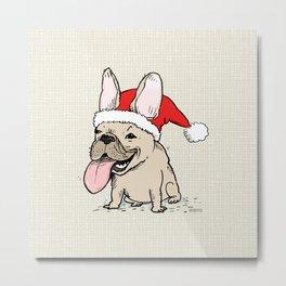 French Bulldog Santa Clause   Funny Christmas Frenchie Metal Print