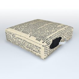 We're All Mad Here - Alice In Wonderland - Old Dictionary Page Outdoor Floor Cushion