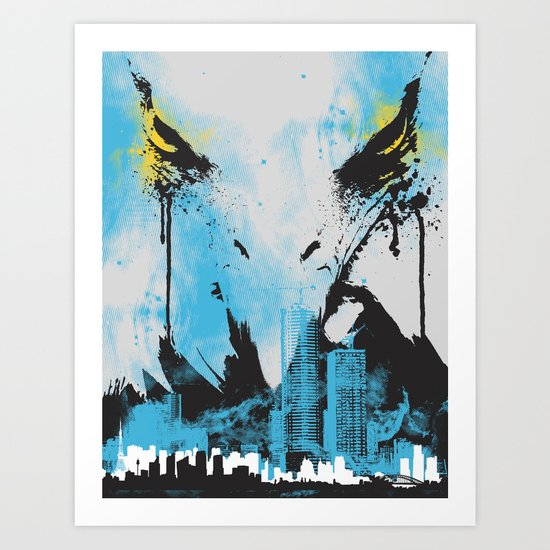 Eagle Eye Watching - Blue Art Print