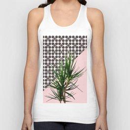 Dracaena Plant on Pink and Lattice Pattern Wall Unisex Tank Top