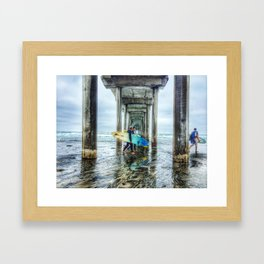 Surfers, La Jolla Shores Pier, San Diego, California. Framed Art Print