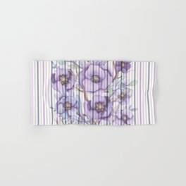 Watercolor purple lavender lilac floral stripes Hand & Bath Towel