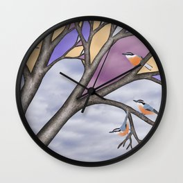 red breasted nuthatches in the stained glass tree Wall Clock