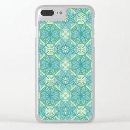 Green Lisbon Tile Geometric Print Clear iPhone Case