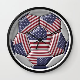 Soccer ball with United States flag Wall Clock