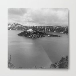 Mountain Lake View B&W Metal Print