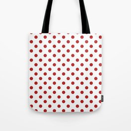 Small Polka Dots - Firebrick Red on White Tote Bag