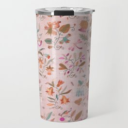Vintage Floral Pattern With Flowers In Pinks and Oranges Travel Mug