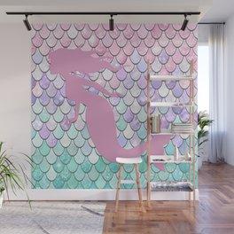 Mermaid Silhouette, Pastel Pink, Purple, Teal Wall Mural