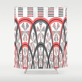 Abstract red and grey Shower Curtain