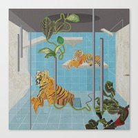 tigers Canvas Prints featuring tigers by peterffy