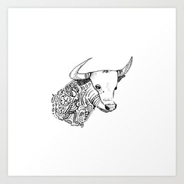 TAURUS - bull - zodiac doodle series abstract Art Print