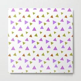 Geometrical violet purple lime green triangles pattern Metal Print