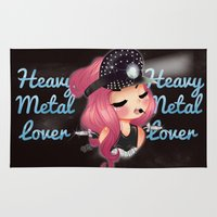 heavy metal Area & Throw Rugs featuring Heavy Metal Lover ♥ 2.0 by Chimi-uzz